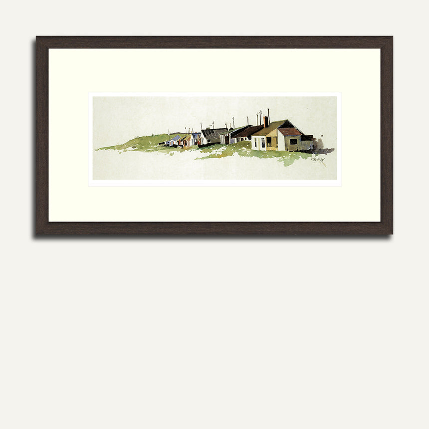 Framed image of the small seaside hamlet of Aberdesach.