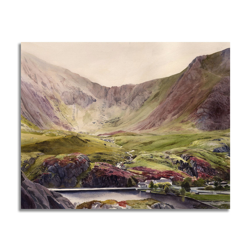 A watercolour by Rob Piercy showing the huge expanse of Cwm Idwal with the buildings of Idwal Cottage and Llyn Ogwen in the foreground
