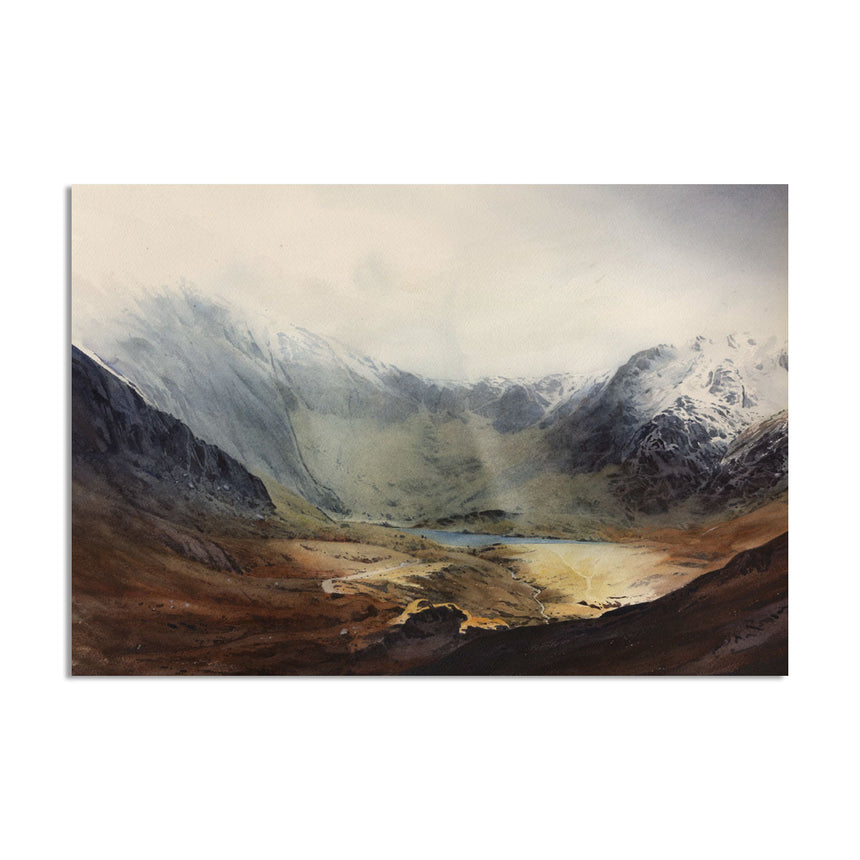 Afternoon winter light  at Cwm Idwal. A watercolour by Rob piercy