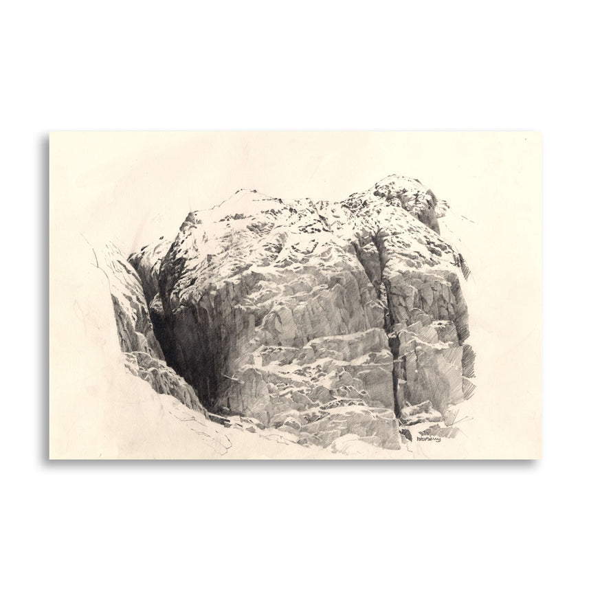 Pencil drawing of the area to the right of the Devil's Kitchen in Cwm Idwal by Rob Piercy