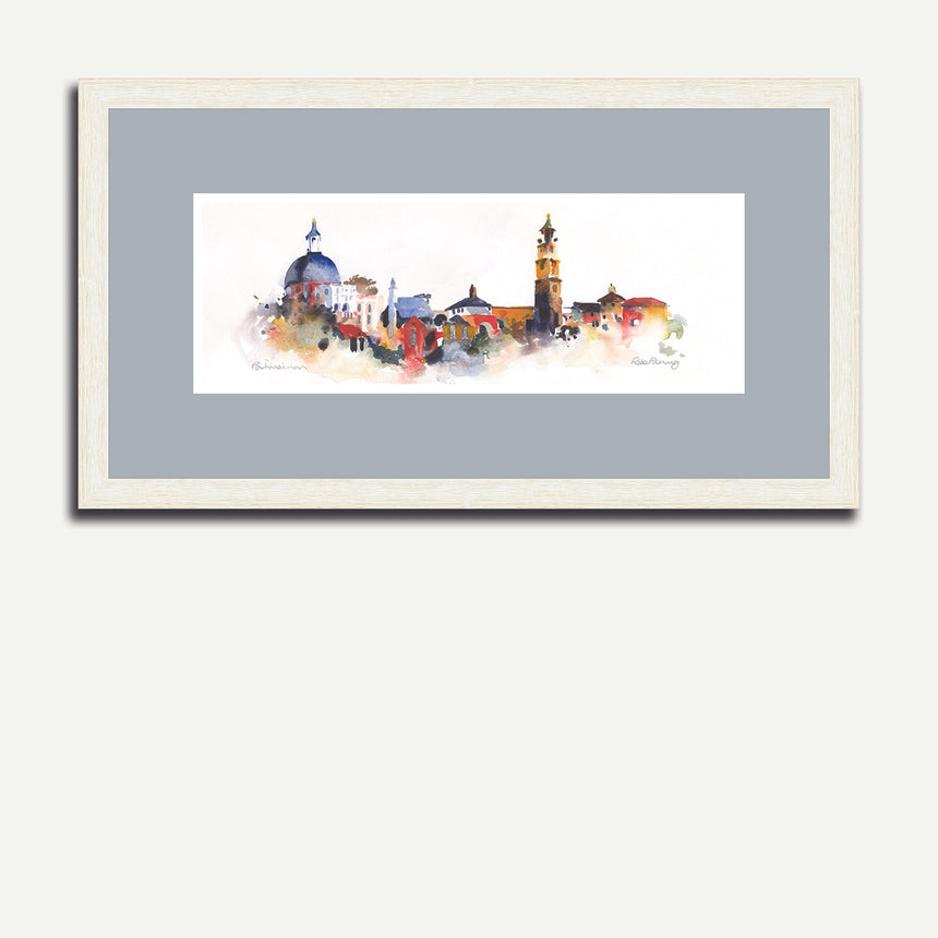 White frame dark grey mount - Village, Portmeirion.