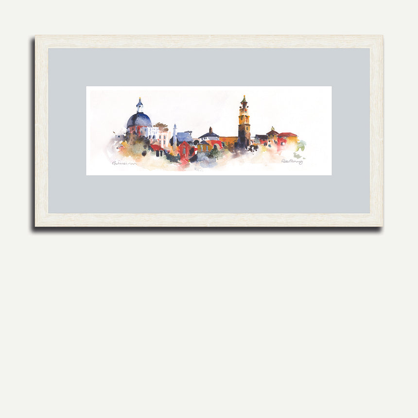 White frame, grey mount - Village, Portmeirion.
