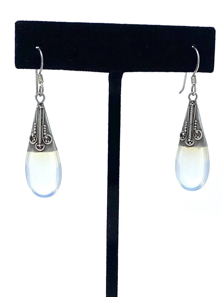 Milky White Teardrop Earrings
