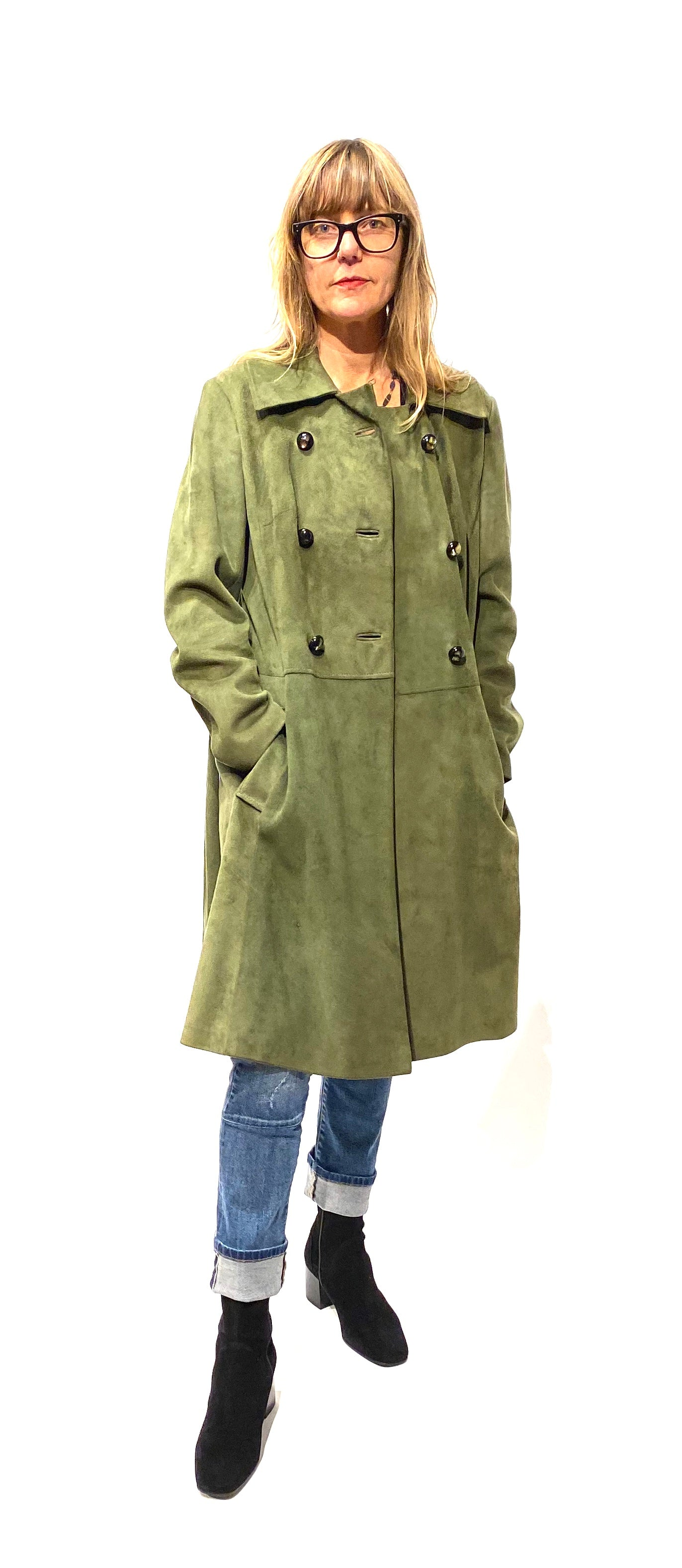 Olive Double Breasted Jacket, L