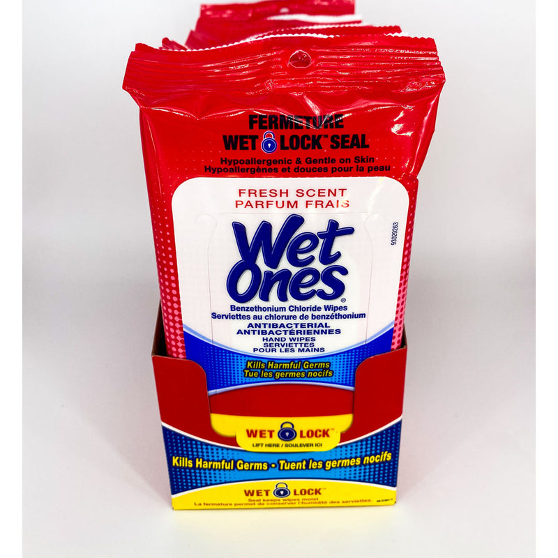 Wet Ones Antibacterial Hand Wipes Travel Pack 20 Count - Fresh Scent Better Health Medical Shop Disinfectant Wipes
