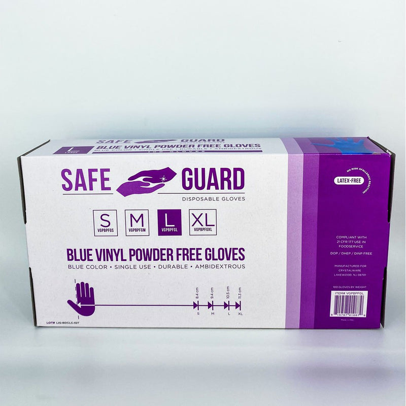 Blue Vinyl Powder Free Large Gloves 100/box - Better Health Medical Shop