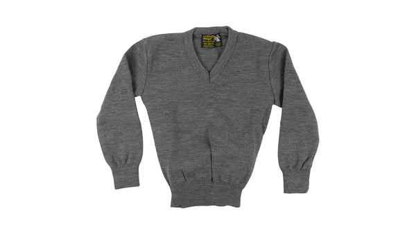 Grey V Neck Jumper Acrylic