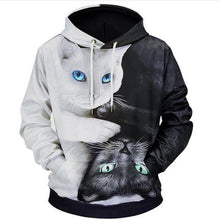 Load image into Gallery viewer, Black & White Cute Kitten 3D Hoodie Christmas
