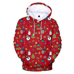 Christmas Pretties Snowman, Clock, Biscuit 3D Hoodie Christmas