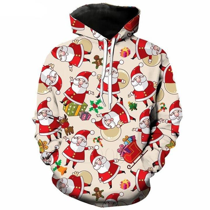 Christmas Pretties Santa, Sleigh, Presents 3D Hoodie