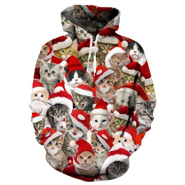 Cute Kitten with Christmas Hat 3D Hoodie Christmas