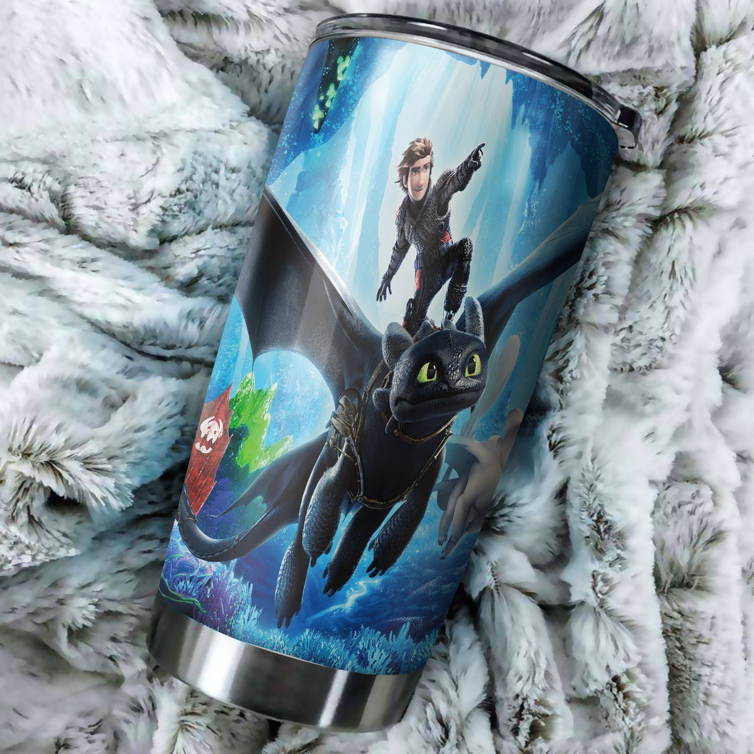 Toothless And Light Fury How To Train Your Dragon New Tumbler - perfect gift Stainless Traveling Mugs