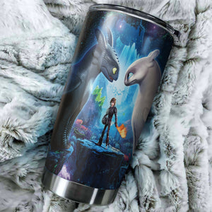 Toothless And Light Fury How To Train Your Dragon Art Tumbler - perfect gift Stainless Traveling Mugs