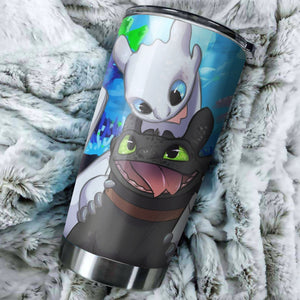Toothless And Light Fury How To Train Your Dragon Funny Tumbler - perfect gift Stainless Traveling Mugs