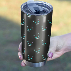 Cat Creepy Face Blue Eyes Pattern Tumbler