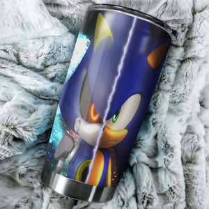 Sonic The Hedgehog Sonic Vs Metal Sonic Tumbler - Perfect Gift Stainless Traveling Mugs