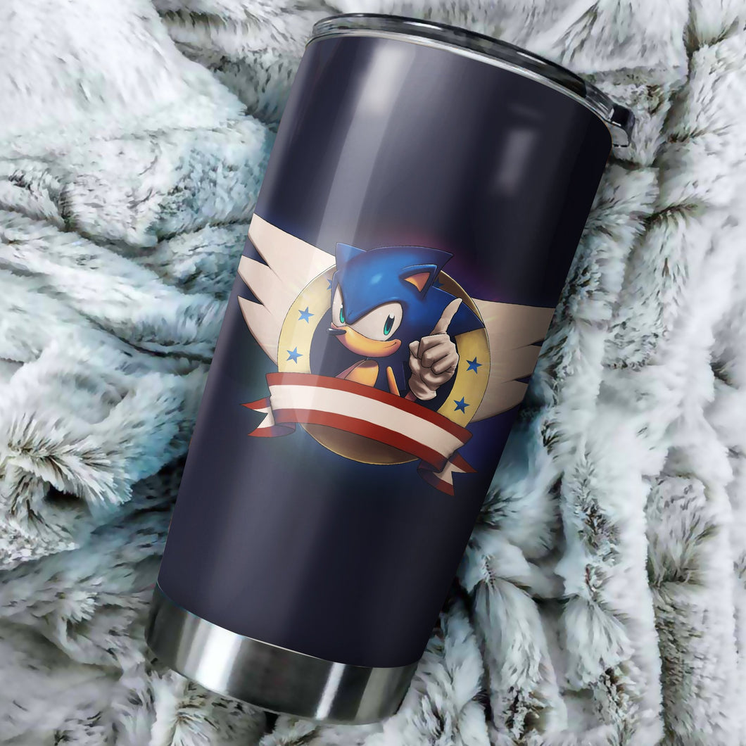 Sonic The Hedgehog Logo Tumbler - Perfect Gift Stainless Traveling Mugs