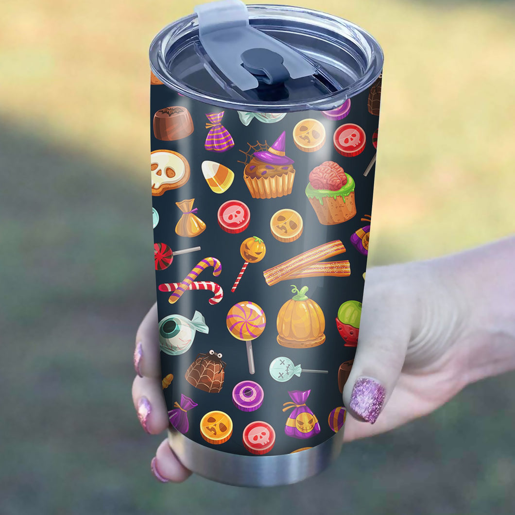 Halloween Candy Pattern Tumbler - Perfect Gift Stainless Traveling Mugs