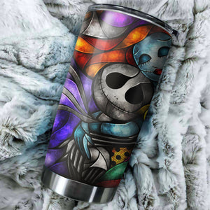 Jack Skellington And Sally Color Nightmare Before Christmas Tumbler - perfect gift Stainless Traveling Mugs