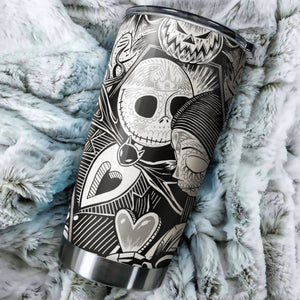 Jack Skellington And Sally Nightmare Before Christmas Tumbler - perfect gift Stainless Traveling Mugs