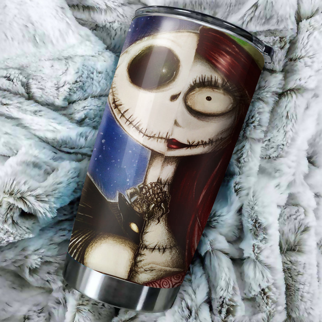 Jack Skellington With Sally Nightmare Before Christmas Tumbler - perfect gift Stainless Traveling Mugs