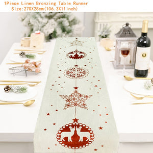 Snowman Table Runner Merry Christmas Decor