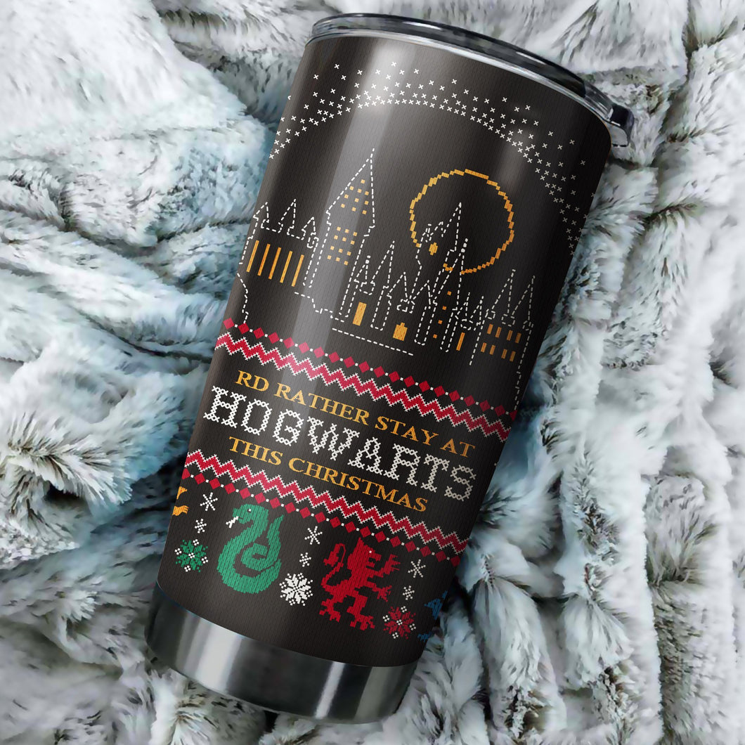 Harry Potter I'd Rather Stay At Hogwarts This Christmas tumbler perfect gift Stainless Traveling Mugs
