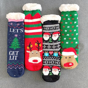 Thickening Fleece Warm Cartoon Christmas Floor Stocking