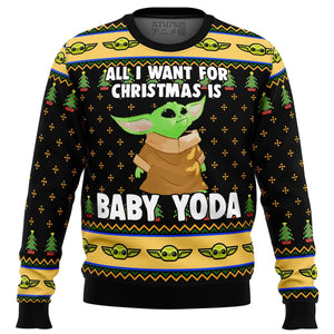 Baby Yoda All I Want Mandalorion Star Wars Premium Ugly Christmas Sweater