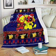 Load image into Gallery viewer, Pikachu Deadpool Christmas Blanket
