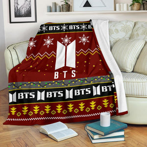 Red BTS Christmas Blanket