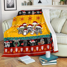 Load image into Gallery viewer, Red Yellow Star Wars Chibi Christmas Blanket