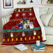 Load image into Gallery viewer, Red Cat Christmas Blanket