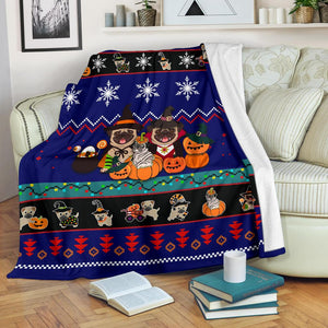 Halloween Pug Dog Christmas Blanket