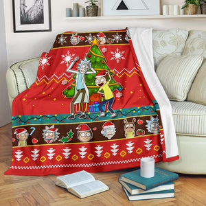 Rick And Morty Red Christmas Christmas Blanket