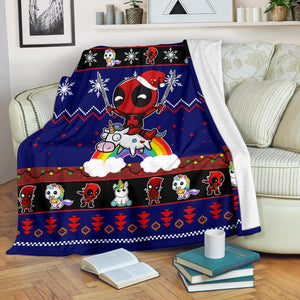 Deadpool Unicorn Christmas Blanket