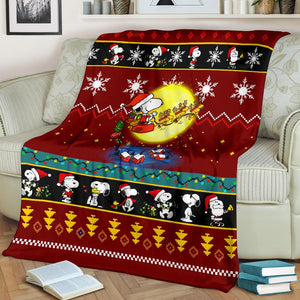 Snoopy Red Christmas Blanket