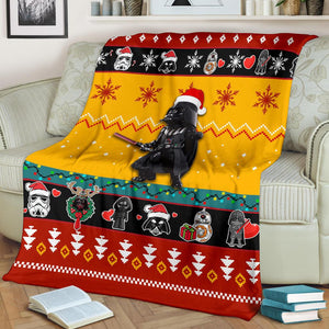 Star Wars Red Yellow Christmas Blanket