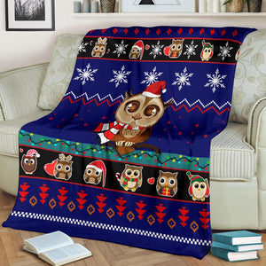 Owl Cute Blue Christmas Blanket