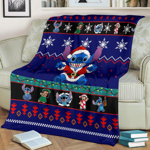 Blue Lilo & Stitch Christmas Blanket