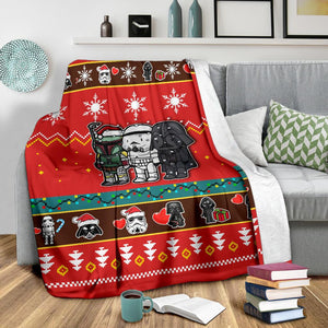 Red Star Wars Chibi Christmas Blanket
