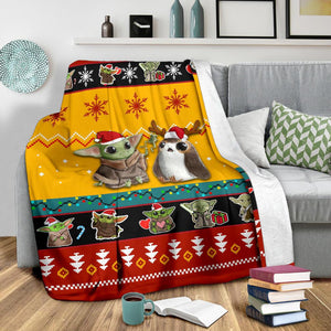 Red Yellow Baby Yoda Christmas Blanket