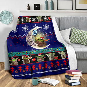 Moon Baby Yoda Christmas Blanket