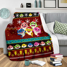 Load image into Gallery viewer, Red Baby Shark Christmas Blanket