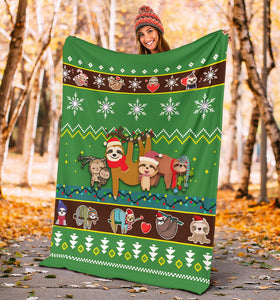 Sloth Christmas Blanket