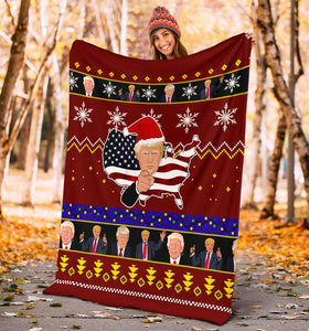 Donald Trump Christmas Blanket