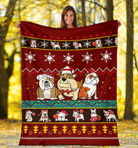 Bulldog Christmas Blanket