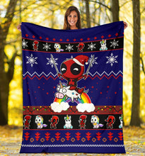 Load image into Gallery viewer, Deadpool Unicorn Christmas Blanket