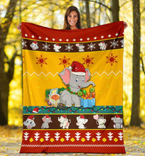 Load image into Gallery viewer, Red Yellow Elephant Christmas Blanket