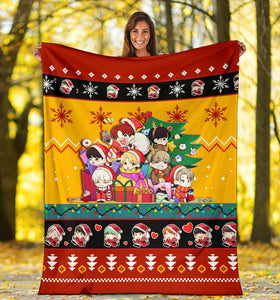 Red Yellow BTS Christmas Blanket